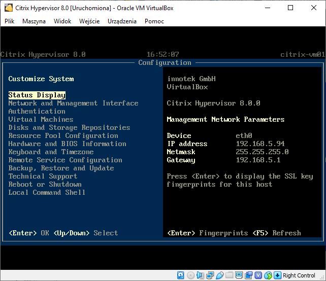 citrix hypervisor - konsola główna